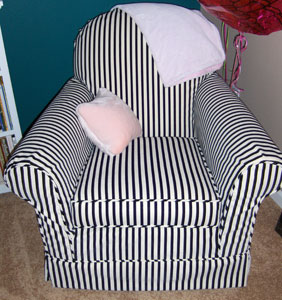Black & White Stripe Rocking Chair Slipcover