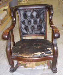 Before: Tattered Brown Leather Chair
