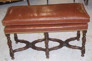 A Creamy Brown Reupholstered Bench