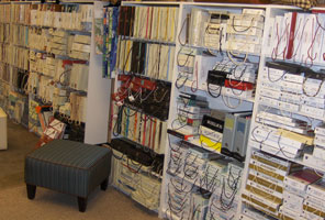 shelves of fabric books