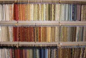 rows of hanging fabric samples