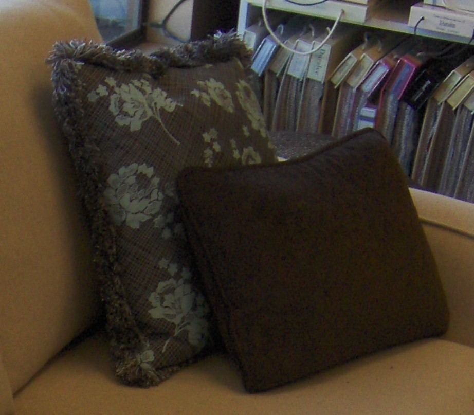 Brown Pillows with Teal Design