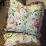 Elegant Floral Pillow with Fringe Set of 2