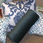 Navy Blue & White Flourish with Lumbar Set
