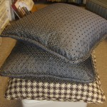 Houndstooth Brown and Blue Throw Pillows