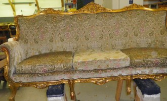 Golden Couch Reupholstered