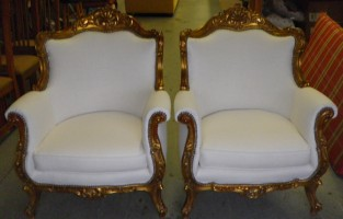 Plush White Matching Upholstered Chairs