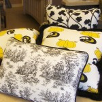 Black Yellow and Toile Trendy Pillow Set