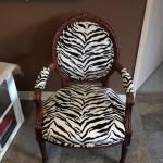 Zebra print upholstered armchair