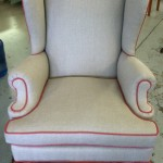 Reupholstered Organic Wing Chair