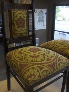Green dining chairs fabric closeup