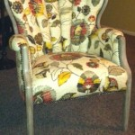 Large floral print upholstered chair