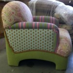 Multi-fabric overstuffed chair