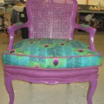 wicker reupholstered chair