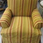After: Gold Stripe Taffeta Slipcover