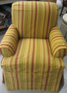 After: gold stripe taffeta slipcover