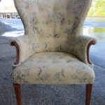 Reupholstered asian floral print wing chair