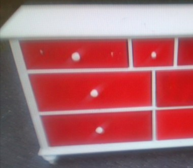 dresser before upholstery: red drawers