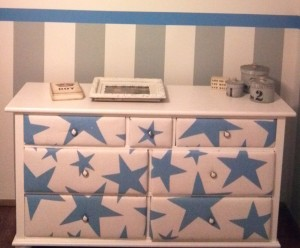 dresser with upholstered drawers