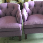 Purple Tufted Club Chairs